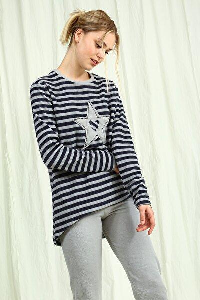 Grimelanj Çizgili Yıldız Desenli Kadın Pijama Takımı