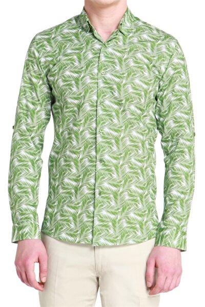 G 1386 Slim Fit Yeşil Spor Gömlek