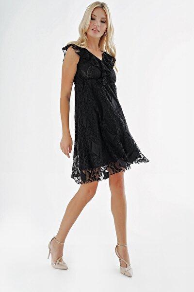 Siyah Güpür Tasarım Kısa Elbise