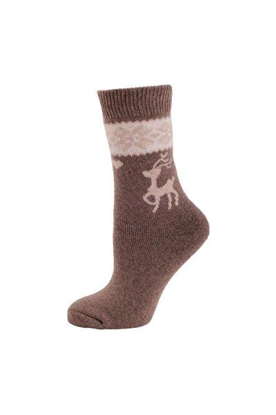 Casual Wool Socks Erkek Çorap Bej/kahverengi