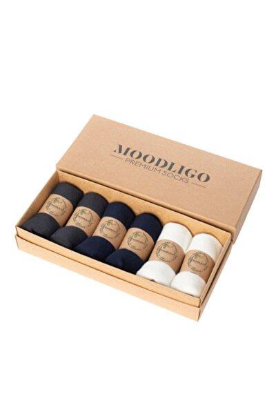 Premium 6'lı Bambu Patik Erkek Çorap 2 Füme 2 Lacivert 2 Beyaz