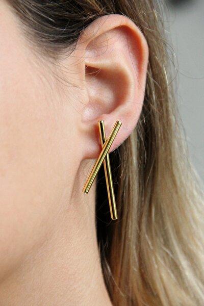 Altın Kaplamalı Gümüş Tasarım Çubuklar Küpe - K091701