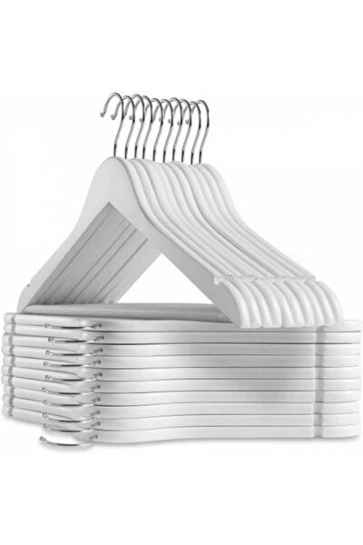 12 Adet Ahşap Görünümlü Plastik A Kalite Askı, Kıyafet Ve Elbise Askısı Beyaz