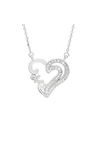 Gümüş Zirkon Taşlı Love Yazılı Kalp Kadın Gümüş Kolye