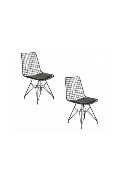 Mazlum Ofis Cafe Bahçe Mutfak Kafes Tel Sandalyesi 2 Li