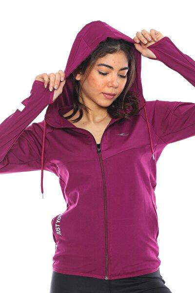 Kadın Mor Içi Pamuklu Fermuarlı Kapüşonlu Spor Sweatshirt