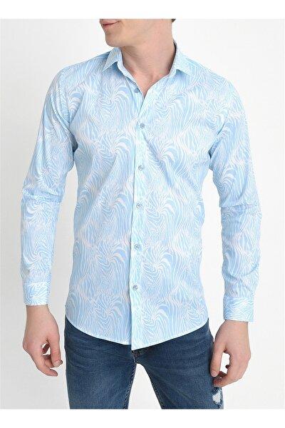G 1407 Slim Fit Mavi Spor Gömlek