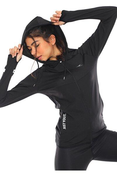 Kadın Siyah Içi Pamuklu Fermuarlı Kapüşonlu Spor Sweatshirt