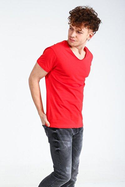 Kırmızı Erkek Basıc V Yaka Tshirt Kısa Kol