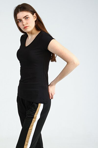 Siyah V Yakalı Kısa Kollu Basic Kadın Tshirt