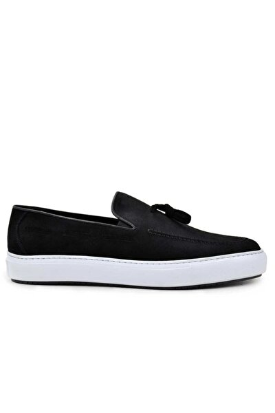 Hakiki Deri Siyah Sneaker Erkek Ayakkabı -8386-