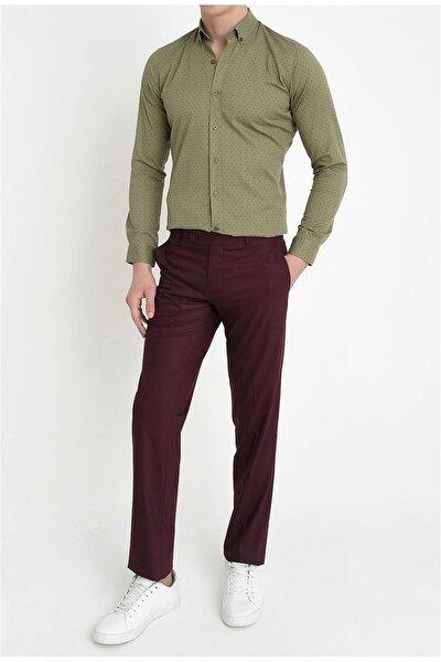 P 888 Slim Fit Bordo Klasik Pantolon