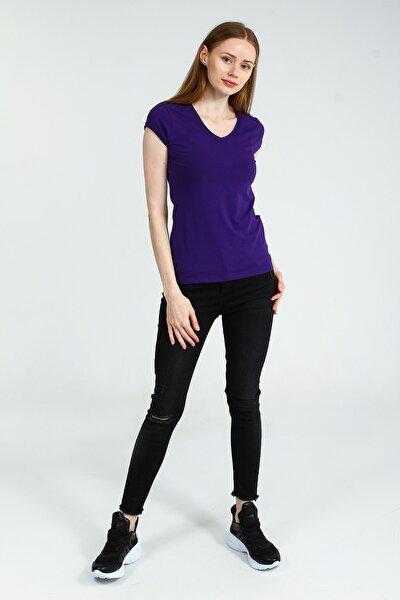 Kadın Mor V Yakalı Kısa Kollu Basic Tshirt