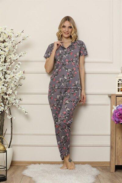 Çiçek Desenli Önden Düğmeli Kısa Kollu Pijama Takım