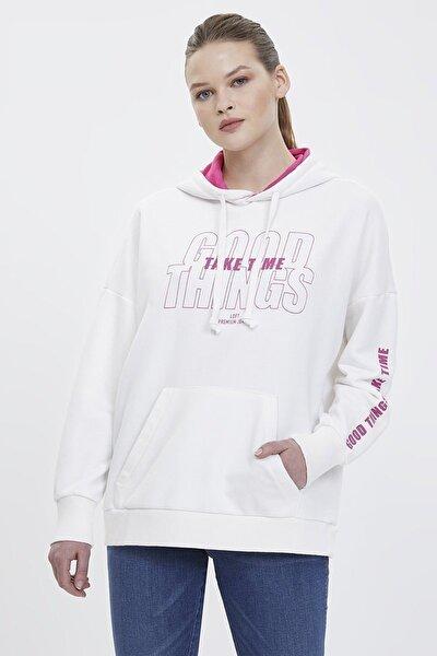 Kadın Slim Fit Baskılı Beyaz Sweatshirt Lf2023421