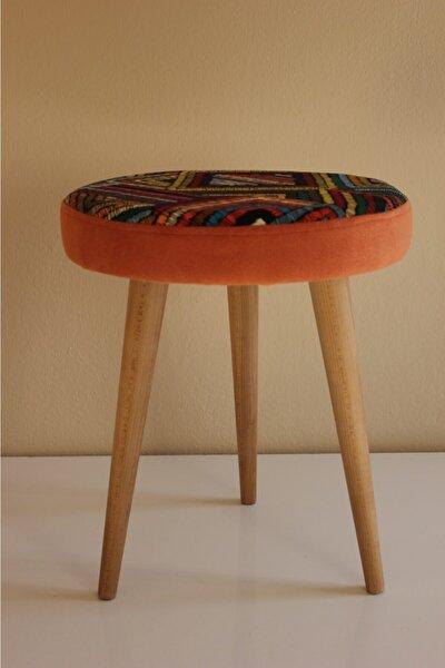 Gürgen Ahşap Ayaklı Dekoratif Rustik Etnik Renkli Desenli Silindir Puf Tabure Bench Koltuk Sandalye