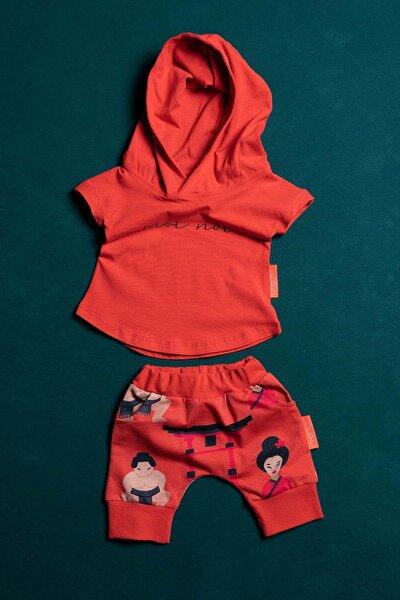 Unisex Bebek Kırmızı Desenli  Kapüşonlu Şortlu 2 Parça Takım