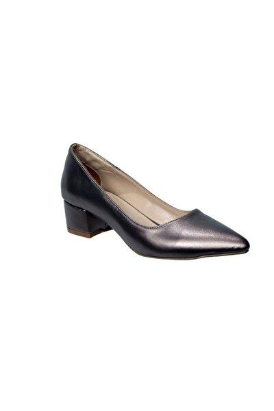 Platin Kısa Topuk Abiye Ayakkabı