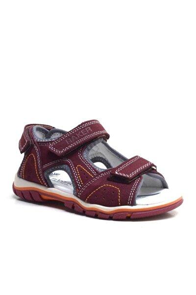 Hakiki Deri Bordo Cırtlı Erkek Çocuk Sandalet Yazlık Ayakkabı