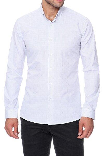 Gk 455 Slim Fit Beyaz-mavi Klasik Gömlek