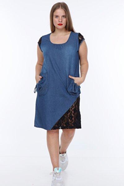 Kadın Büyük Beden Tül Dantel Detaylı Kot Elbise