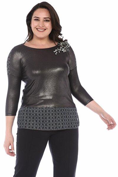 Antrasit Fileli Büyük Beden Kadın Bluz Ult525
