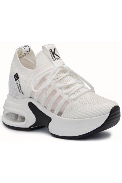 20k333-7 Yüksek Taban Gizli Topuk Kadın Spor Ayakkabı