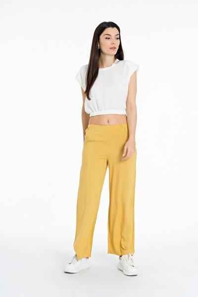Beli Lastikli Cepli Uzun Bol Paça Pantolon K-3832 Hardal