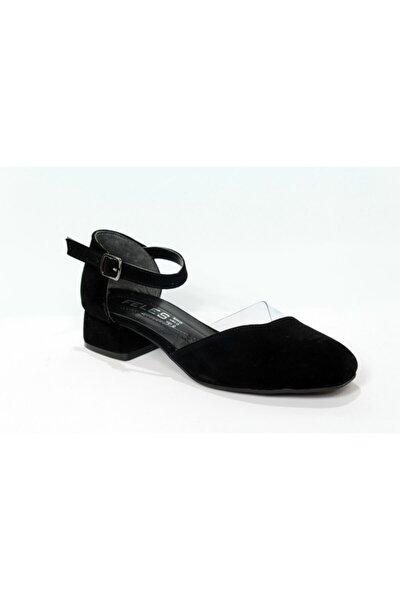Siyah Süet Kısa Topuk Karnıyarık Ayakkabı