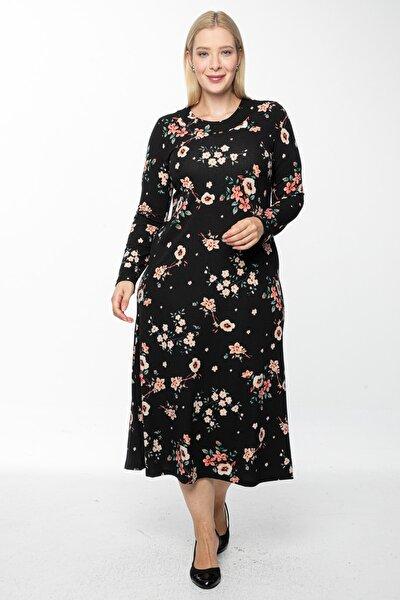 Kadın Siyah Uzun, Küçük Gül Kurusu Baskılı Krep Elbise