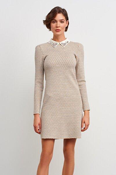 Taş Işlemeli Yaka Desenli Triko Elbise-gri