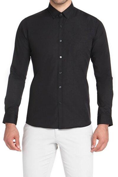 Gk 508 Slim Fit Siyah Klasik Gömlek