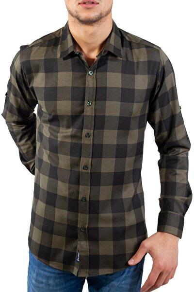 Slim Fit Erkek Sokak Stil Ekose Haki Gömlek- 400