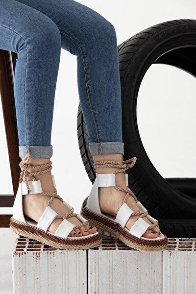 Halatlı Beyaz Sandalet