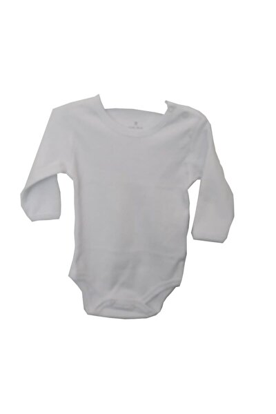 56398 Düz Renk Erkek - Kız Bebek Pamuklu Uzun Kol Body Ekru-56 Cm