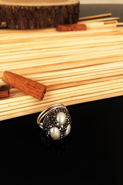 Dr Stone Doğaltaş El Yapımı Inci Taşı Gümüş Kaplama Anatolia Ayarlanabilir Halkalı Yüzük Ktdr69