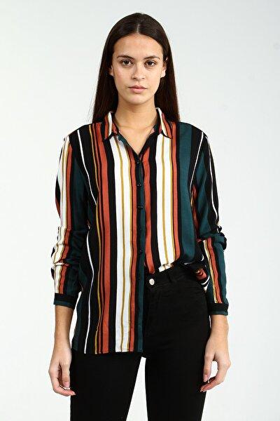 Mix Uzun Kollu Çizgili Kadın Gömlek