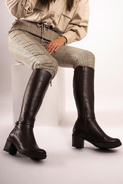 Hakiki Deri Kadın Tokalı Şeritli Çizme Fermuarlı Kalın Taban
