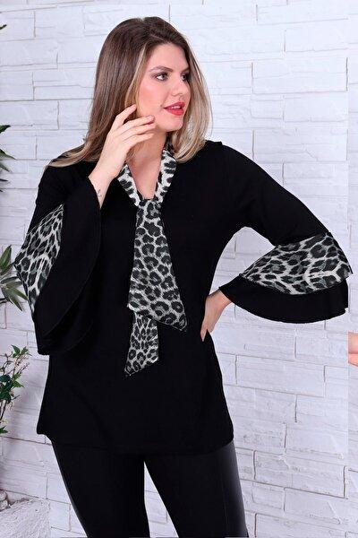 Kadın Büyük Beden Şifon Fular Yaka Volan Kol Bluz