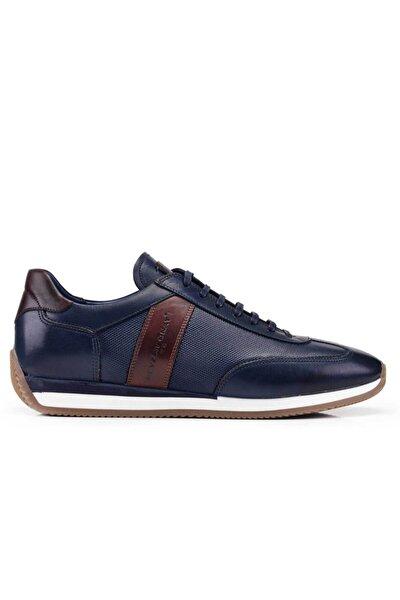 Hakiki Deri Lacivert Sneaker Erkek Ayakkabı -11482-