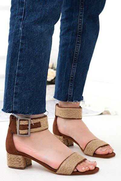 Taba Süet Bilekten Bağlamalı Topuklu Kadın Günlük Sandalet • A202ylkk0012