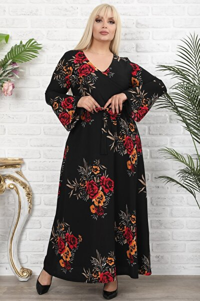 Kadın Siyah Çiçek Baskılı Kruvaze Yaka Volan Kol Elbise