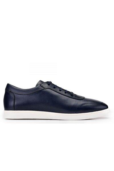 Hakiki Deri Lacivert Sneaker Erkek Ayakkabı -10813-