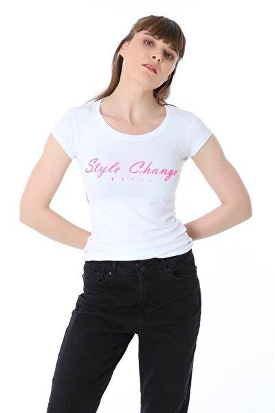 Style Change Baskılı Tshirt - Beyaz