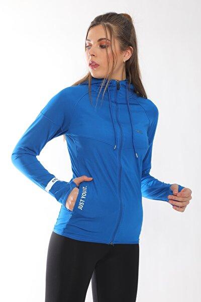 Kadın Saks Pamuklu Fermuarlı Kapüşonlu Spor Sweatshirt