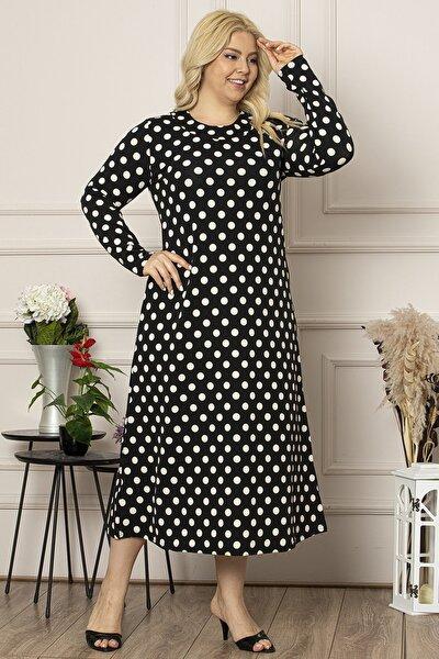 Kadın Siyah Uzun, Puantiye Desenli Krep Elbise