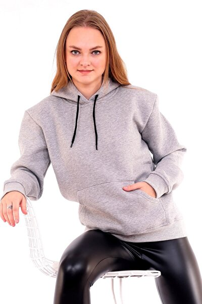 Gri Üç Iplik Kalın Kadın Sweatshirt