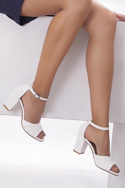 Hakiki Deri Beyaz Kadın Topuklu Deri Ayakkabı Shn-0314