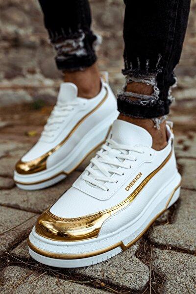 Ch041 Bt Erkek Ayakkabı Beyaz / Altın