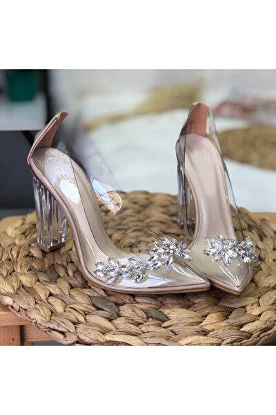Şeffaf Kapalı Taşlı Topuklu Ayakkabı